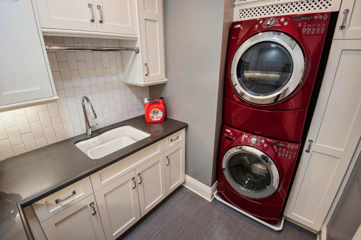small red laundry room design