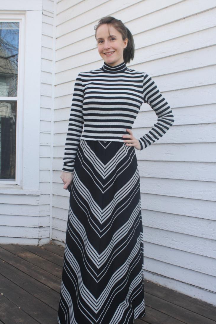 chevron maxi dress design