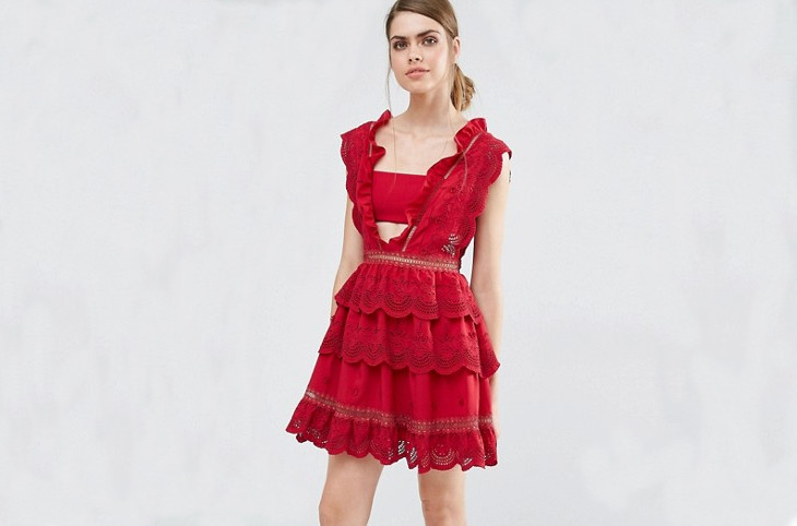 red lace dress design
