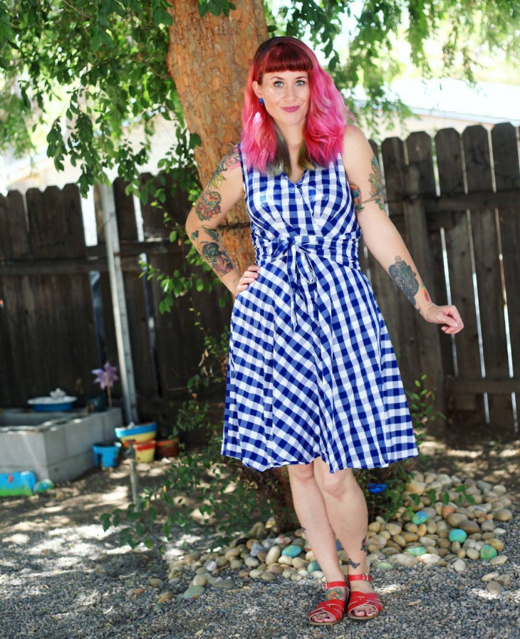 blue and white gingham dress design