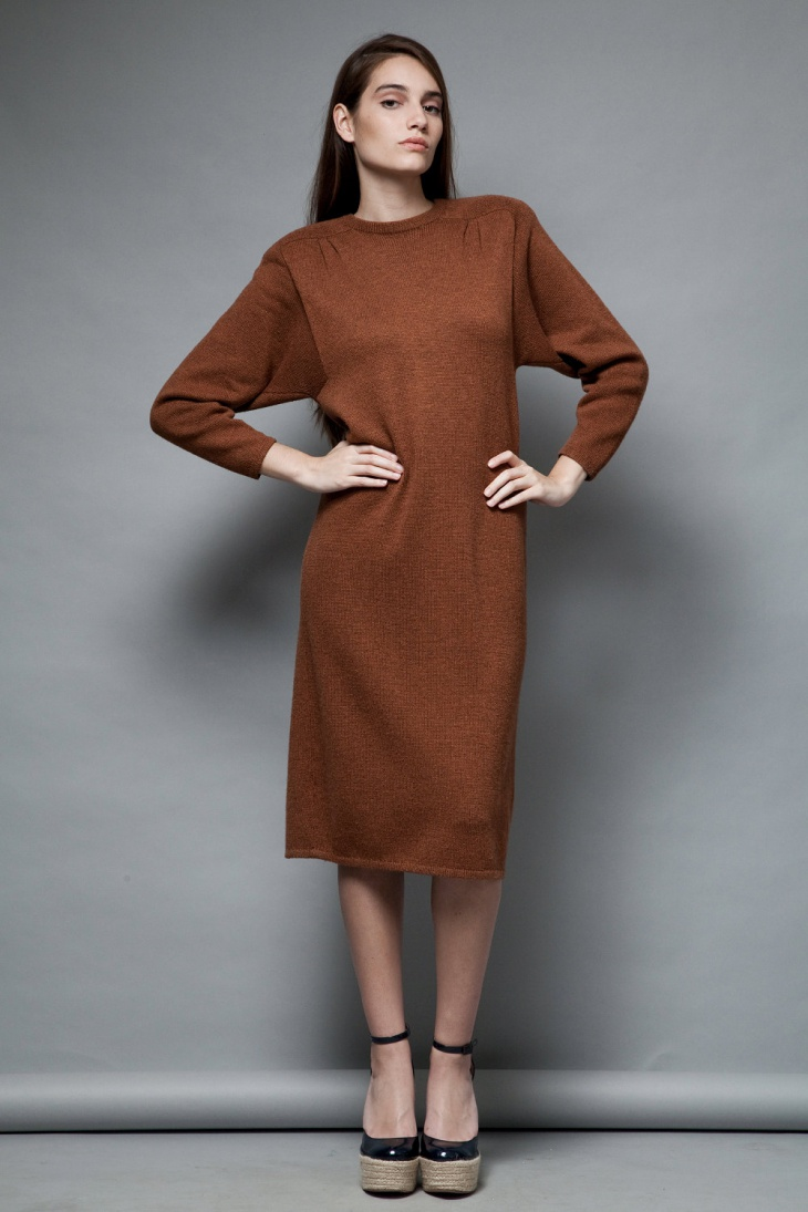 long sleeve shoulder pad dress