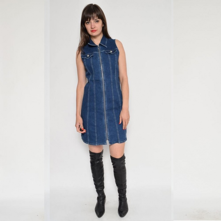 denim zipper dress