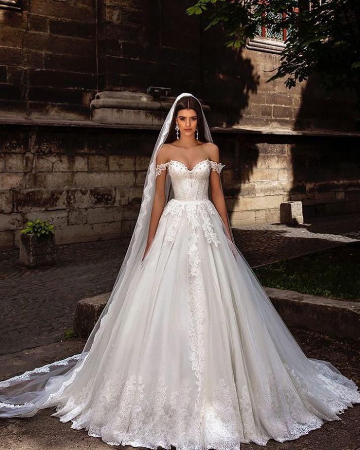 white wedding dress design