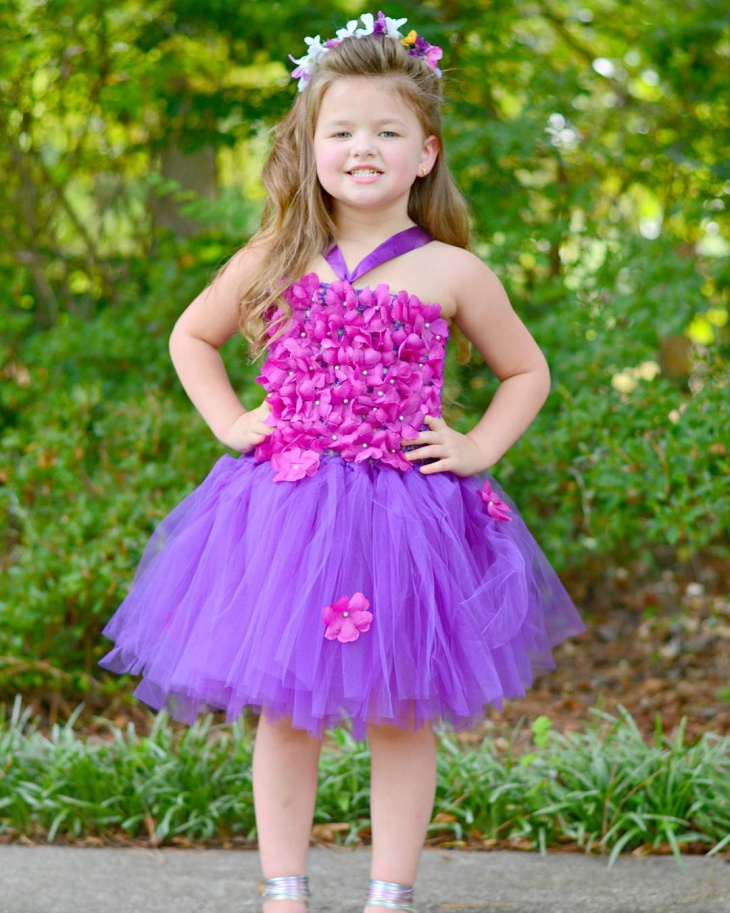 purple flower girl dress design