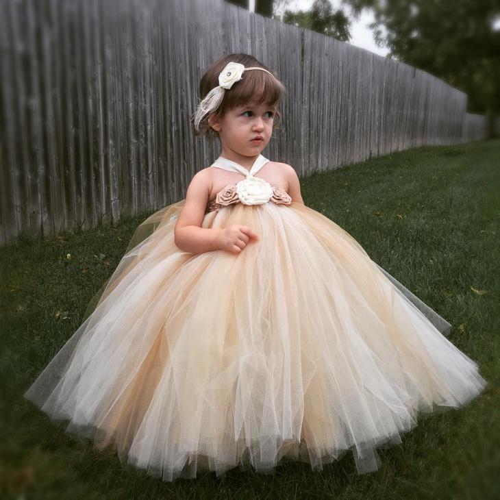 gold flower girl dress design