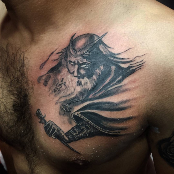 Black and White Wizard Tattoo