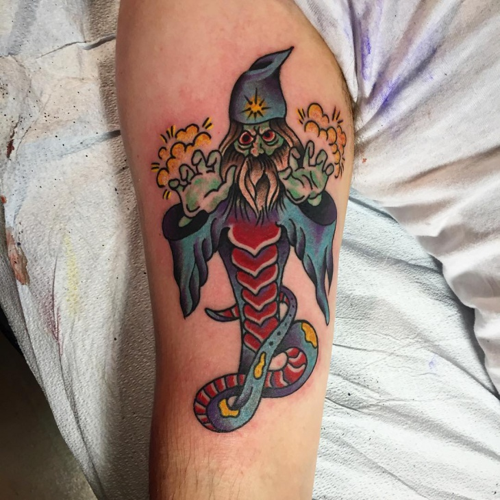 Snake Wizard Tattoo on Arm