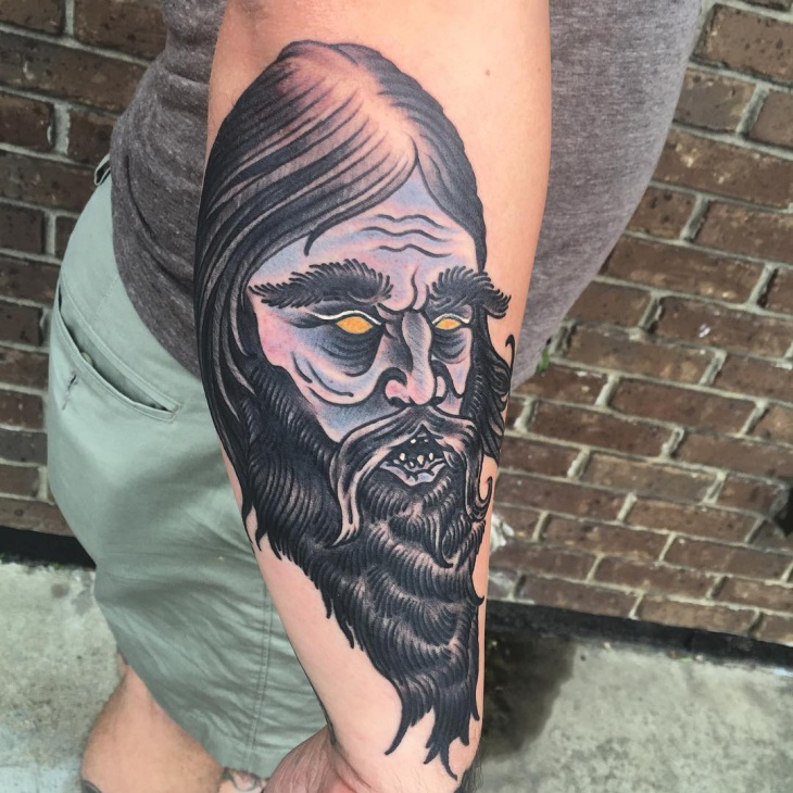 Black Work Wizard Tattoo