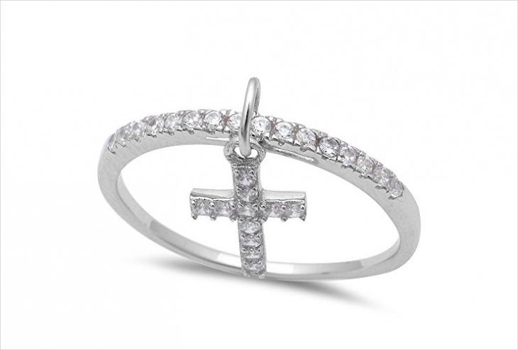 cross dangle ring