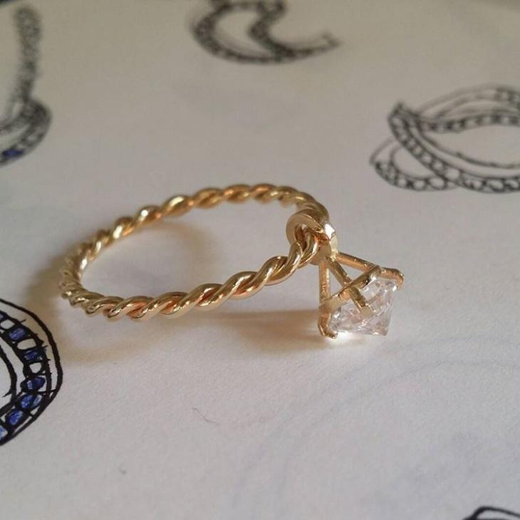 handmade dangle ring design