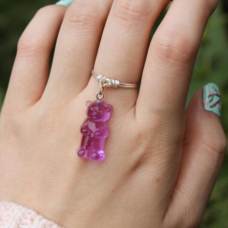 purple bear dangle ring