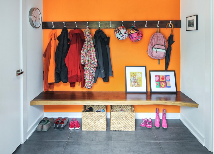 Orange Wall Mudroom Design