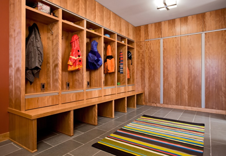 wooden mudroom design