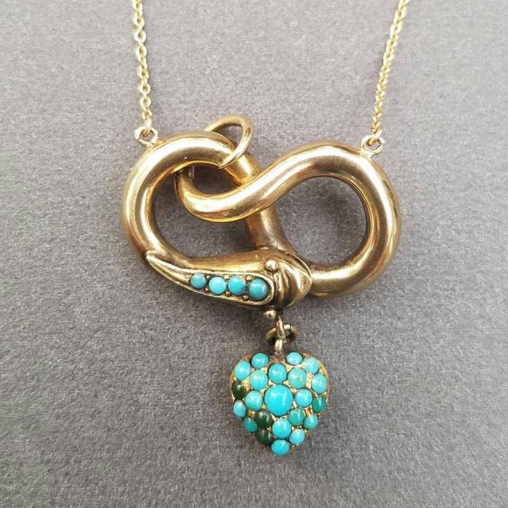 turquoise snake pendant