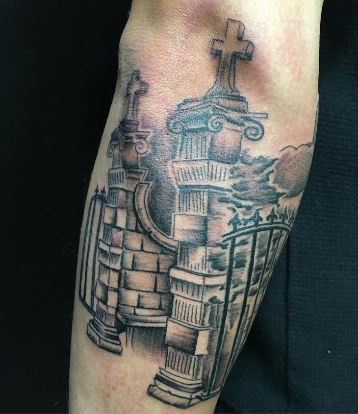 cemetery tattoo design idea