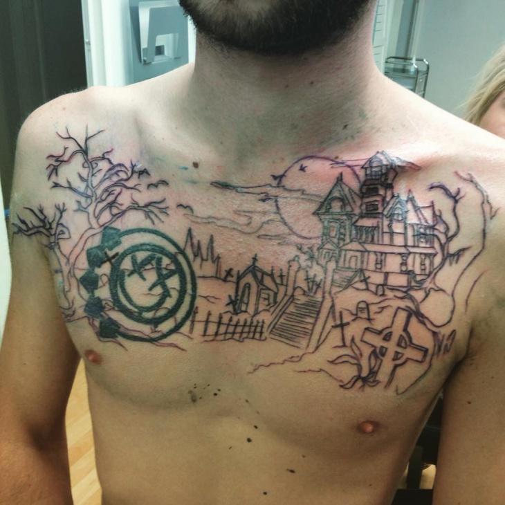 dead tree chest tattoo