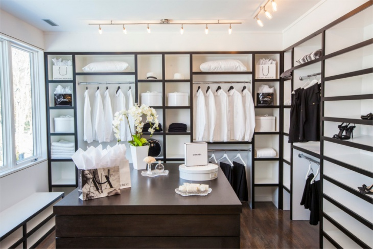 black and white closet lighting