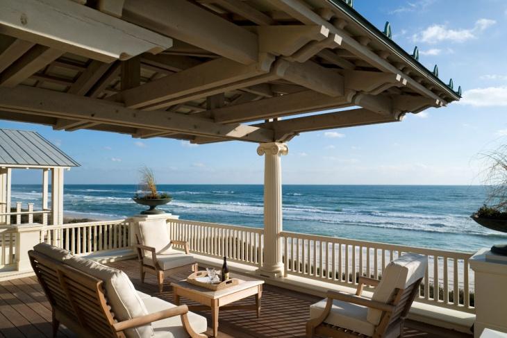 beach style covered deck idea