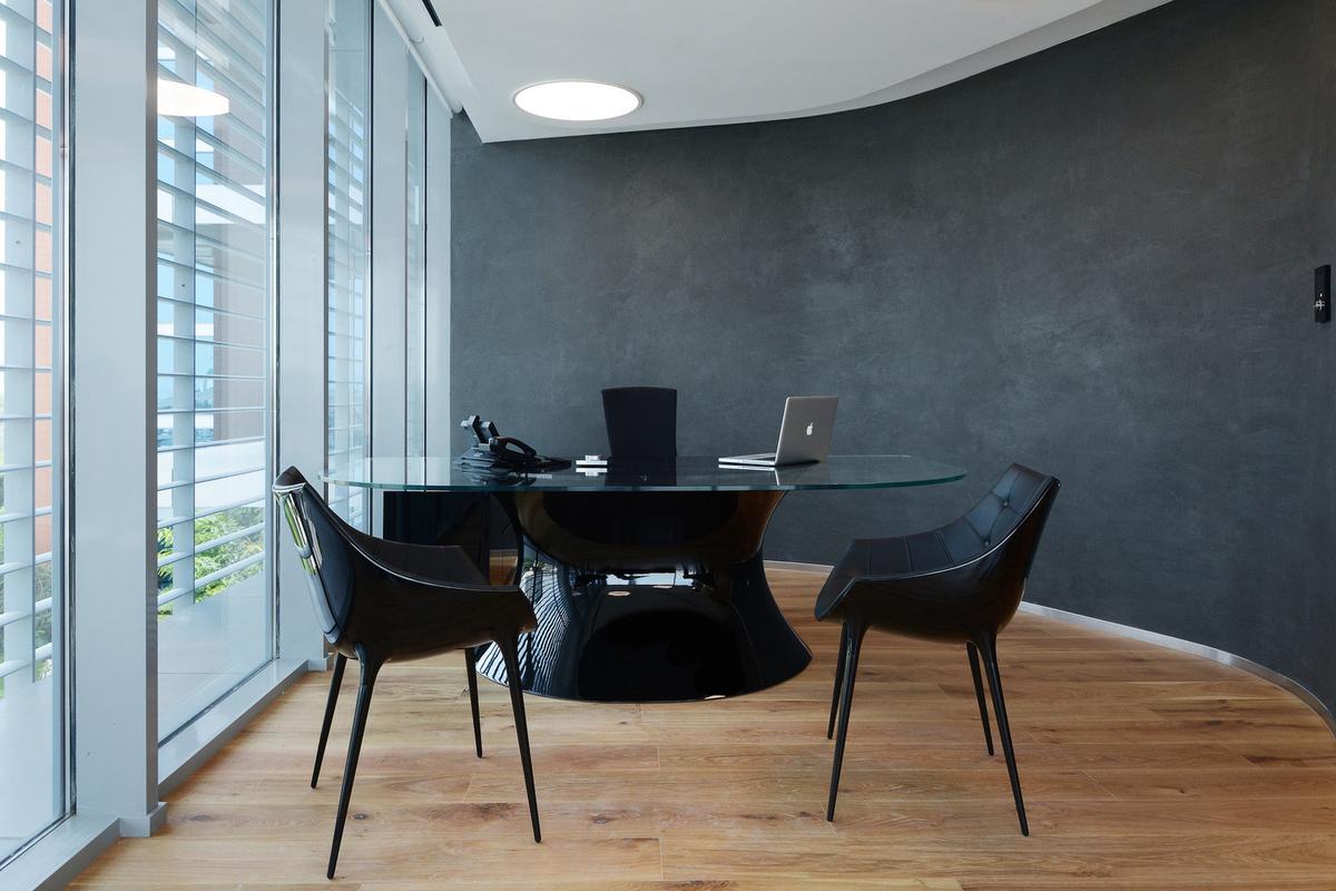 glass corner office desk