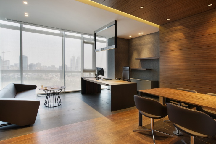 classic wood corner office desk