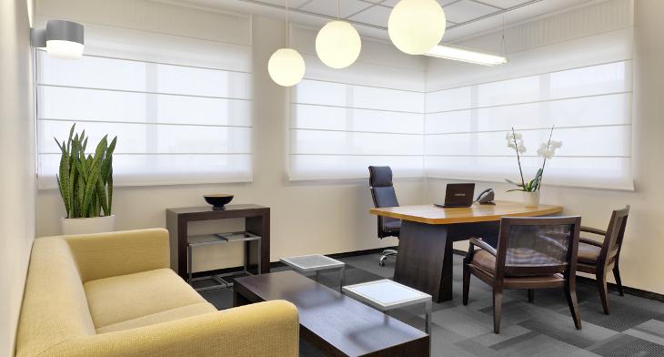 corner office desk lighting idea