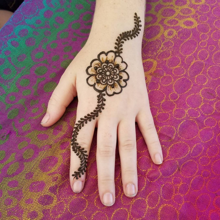 henna flower hand tattoo design