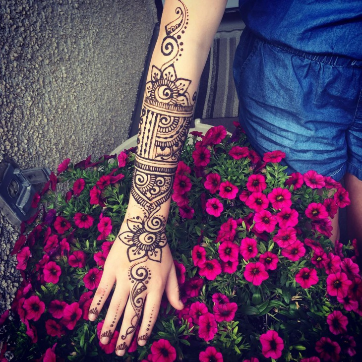 henna arm sleeve tattoo