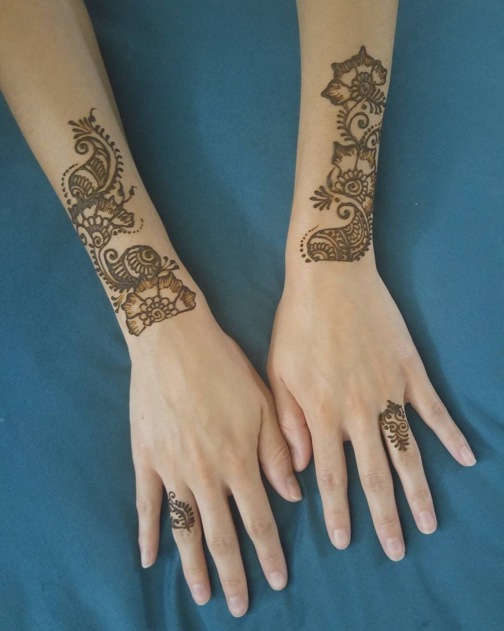 henna wedding ring tattoo design