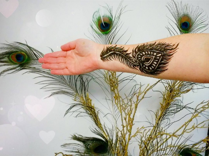 peacock feather henna tattoo