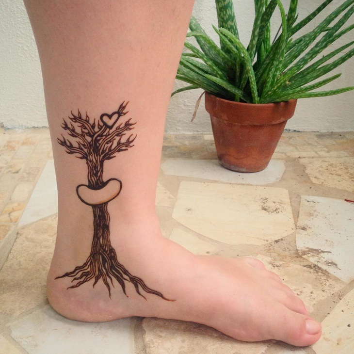 henna tree tattoo design on ankle