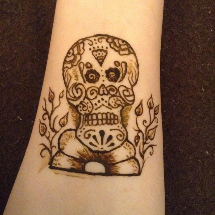 sugar skull henna tattoo