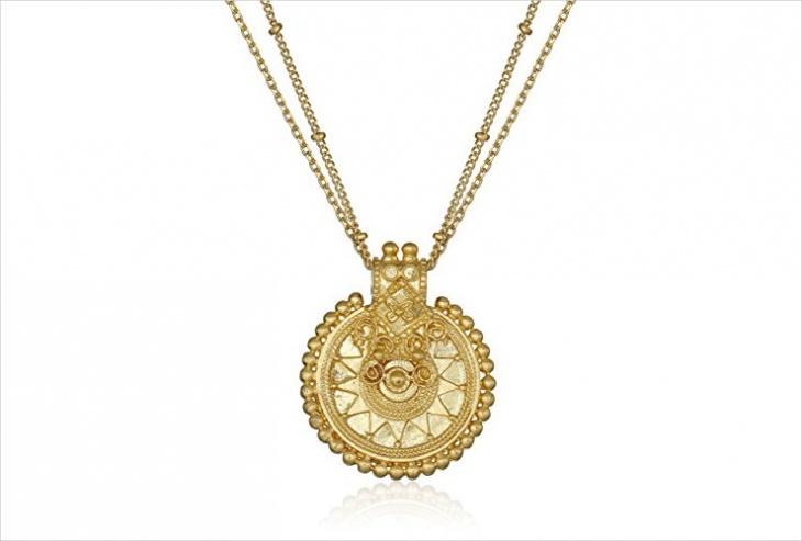 mandala double chain necklace