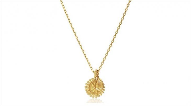 gold mandala necklace model