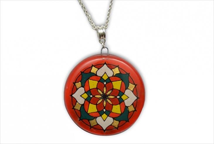 mandala hand necklace