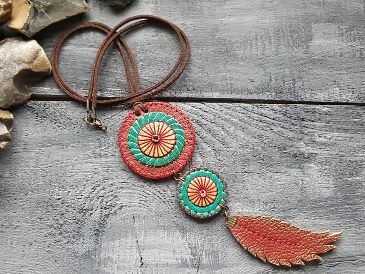 leather mandala necklace