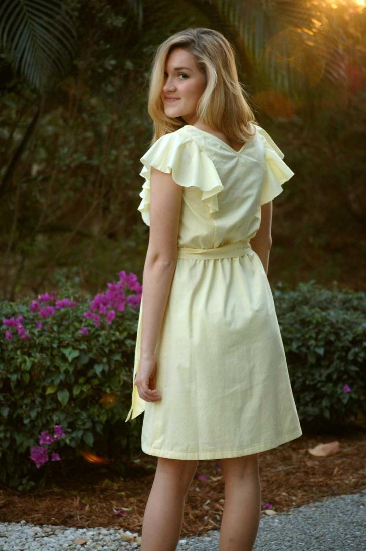 light yellow flutter sleeve dress