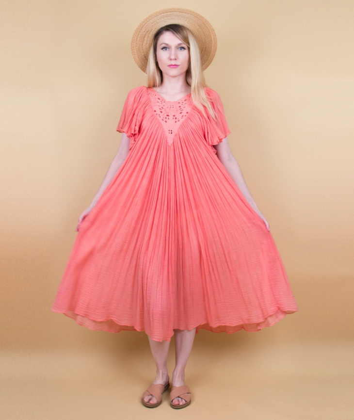 peach flutter sleeve dress
