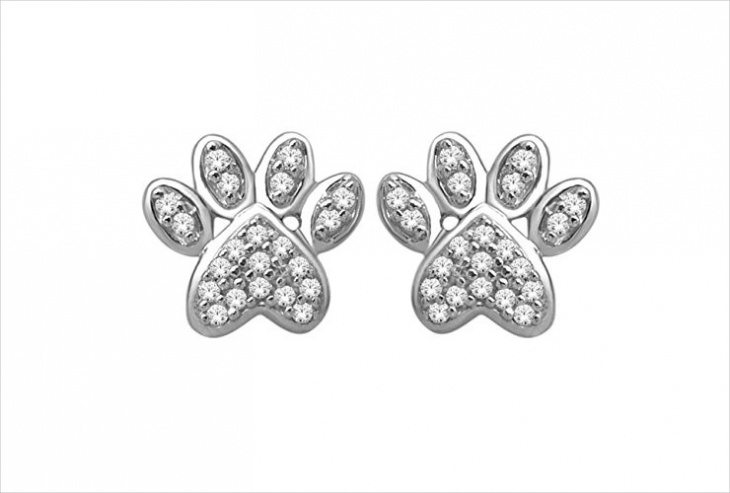 diamond paw print earrings