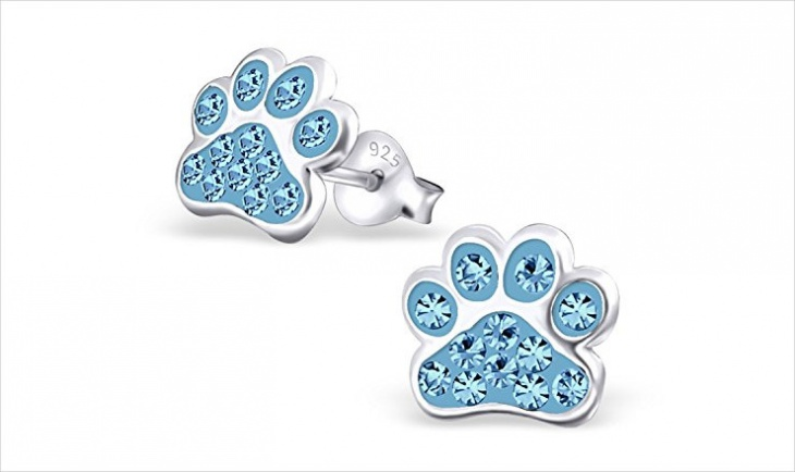 crystal paw print earrings