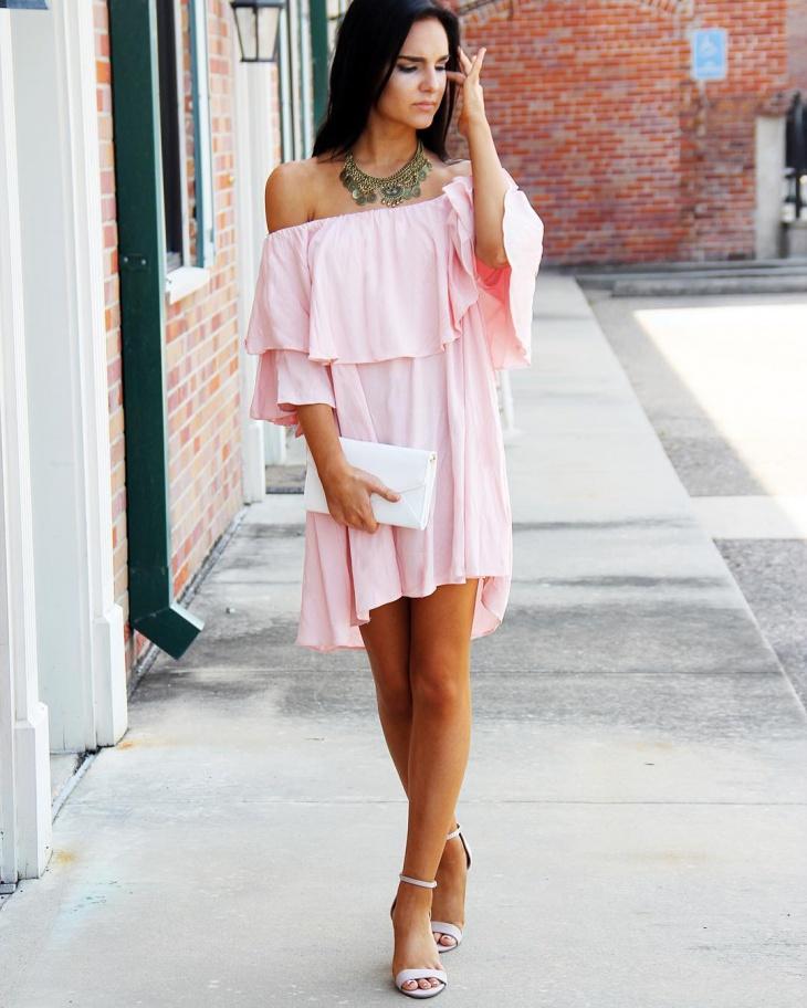 light pink flutter sleeve dress
