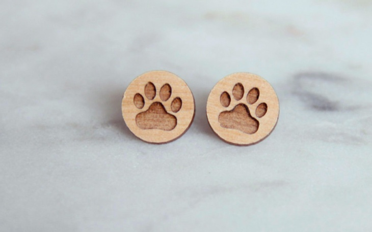 wooden paw print earrings