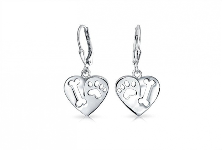 heart shape paw print earrings