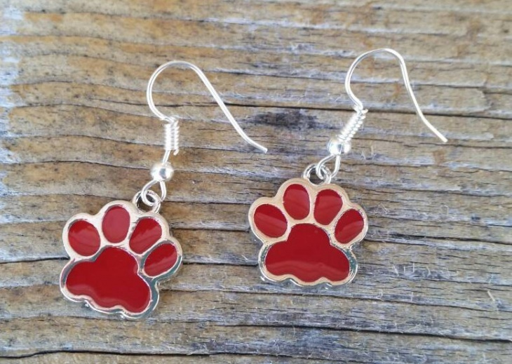 red paw print earrings
