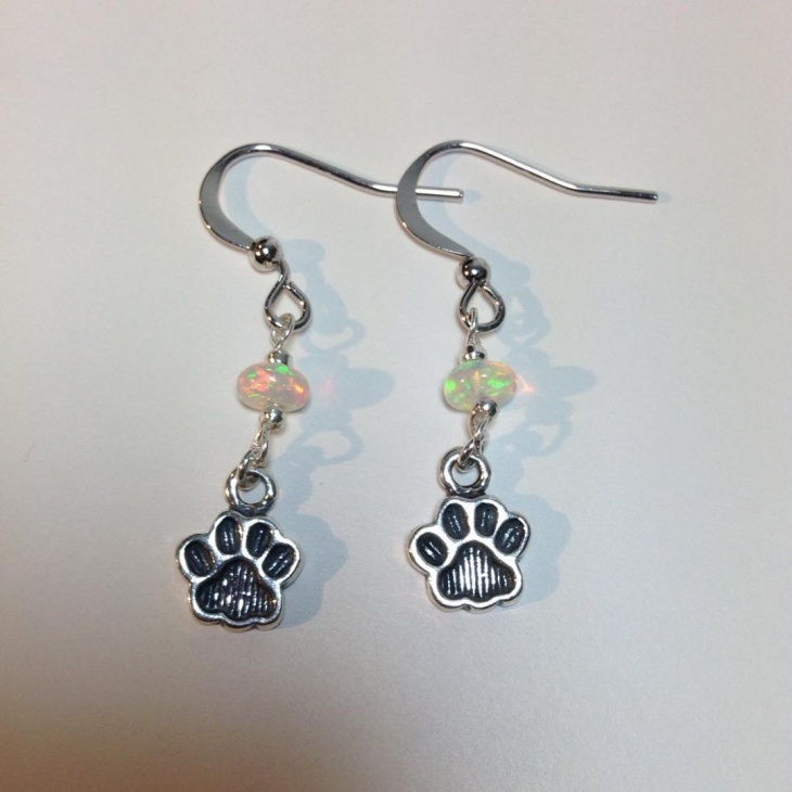 opal paw print earrings