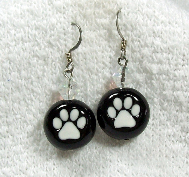 black and white paw print earrings