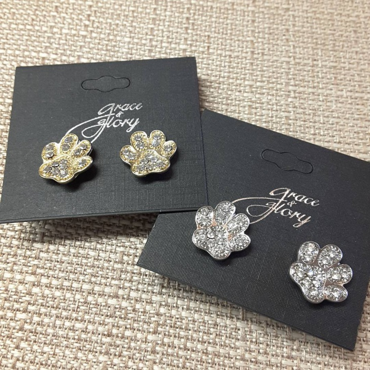 pretty paw print stud earrings