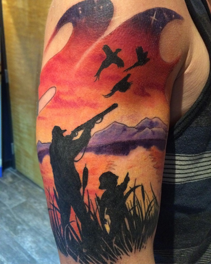 Colorful Hunting Tattoo Idea