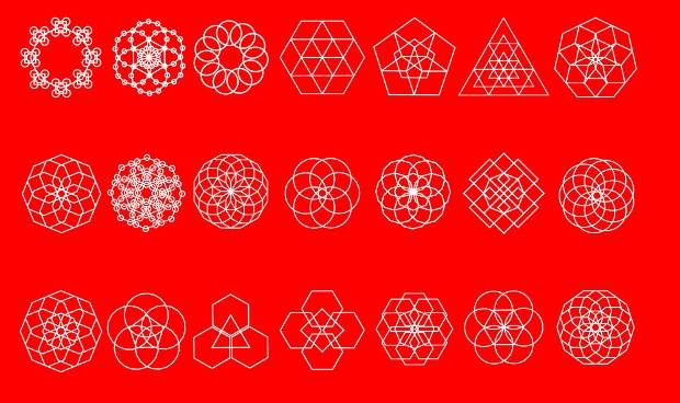 editable geometric outline shape vector