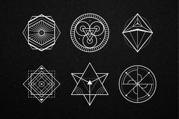 lined sacred geometric vector
