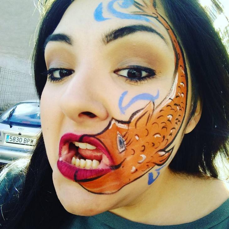 Fish Face Makeup Idea